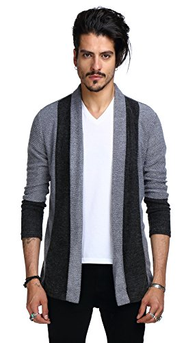 Whatlees Unisex Hip Hop Urban Basic Lang geschnittene Schlichte Strickjacke Cardigan