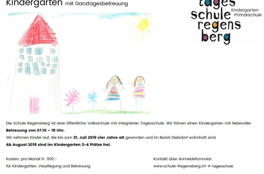 Freie Tagesschulplätze im Kindergarten auf Schuljahr 19/20