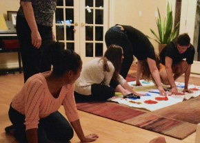 Lab dinner, Fall 2015: Heidi, Trudi, Nicole, Casey and Will playing at Twister