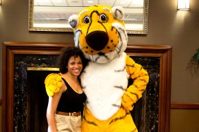 Briana and Truman the Tiger at the picnic for the Summer undergraduate research programme 2014