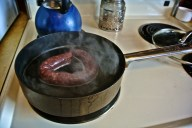 A taste of the freshly made smoked sausage in the works!