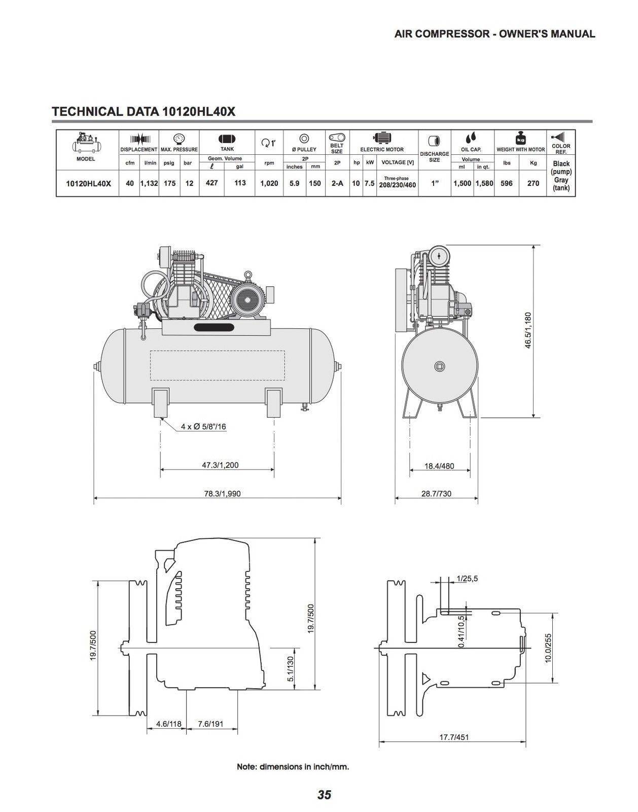 Schulz L Series 10 Hp 120 Gallon Two Stage 40 Cfm 3 Phase
