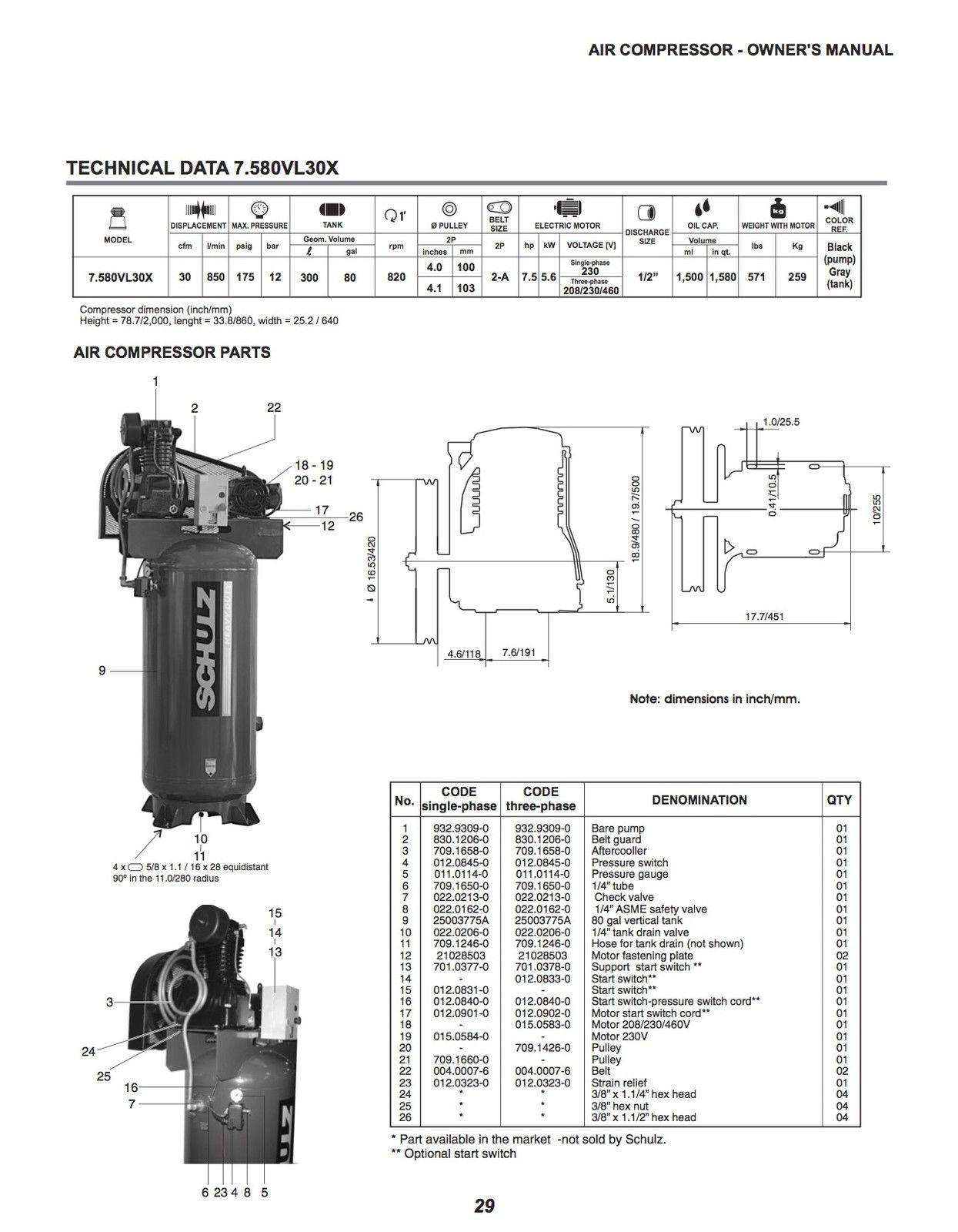 Schulz L Series 7 5 Hp 80 Gallon Two Stage Air Compressor