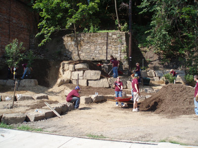 Volunteer landscapers working on a project.
