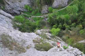 Zlanenie skaly oproti Jaskyni O-3