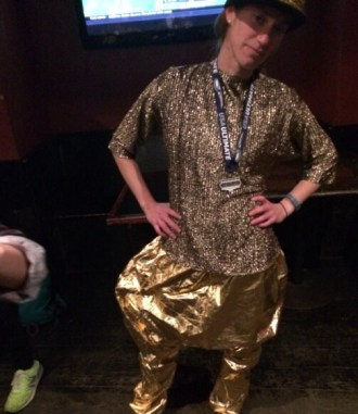 we wore gold at the final dance party. Never thought I'd get a chance to wear these pants again
