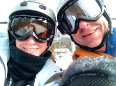 more father daughter ski/snowboardinging