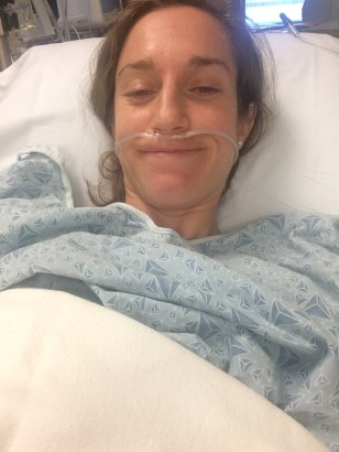 Immediately after the procedure - feeling great despite the nurse putting the nasal cannula on me wrong