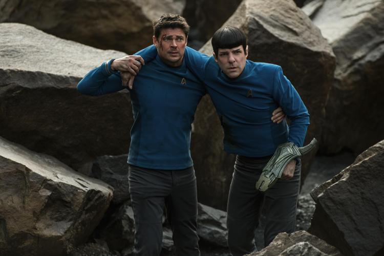 Left to right: Karl Urban plays Bones and Zachary Quinto plays Spock in Star Trek Beyond from Paramount Pictures, Skydance, Bad Robot, Sneaky Shark and Perfect Storm Entertainment