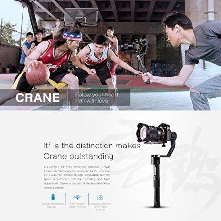 Zhiyun Crane 3 Achse Brushless Handy Gimbal Stabilisator mit Kabellos Fernbedienung für Mirrorless Kamera Sony A7 Serie/Panasonic LUMIX Serie/Nikon J Serie/Canon M Serie -