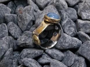 ring stainless steel brass brazes, Denim Lapis 10mm size adjustable 10 -3