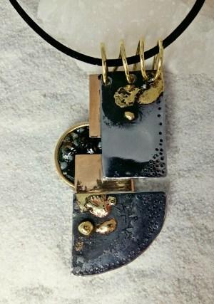 pendant Iron, Bronze, Carrara Marble, Indonesian Amber, Enamel, Brass - 3