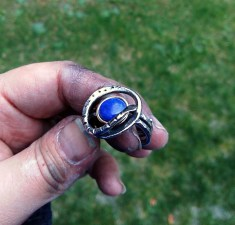 ring stainless steel, bronze, Lapis lazuli10mm size 10.25 - 6