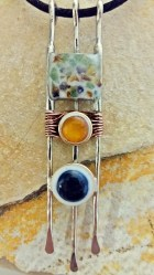 pendant nickelsilver, copper, Onyx 14mm, Amber 10mm, pieces amber, Fluorite, mixed green stones, eopxy, pigment size 11x2.2cm - 3