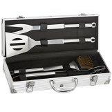Edelstahl Profi Grillbesteck Set 5 teilig im Aluminium-Koffer BBQ Grill-Utensilien Besteck Zubehör fürs Grillen