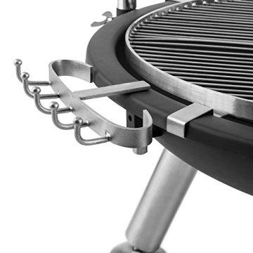 Blumfeldt Turion Galgen-Schwenkgrill BBQ-Grill Gartengrill Holzkohlegrill mit Seilzug (Edelstahl-Feuerschale, Holz-Ablage, Grillbesteck-Halterung) schwarz -