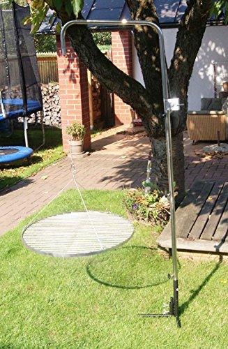Edelstahl Grillgalgen + 80 cm Edelstahl Grill ca. 16mm Stababstand Schwenkgrill Gartengrill Grillrost Schwenker BBQ -