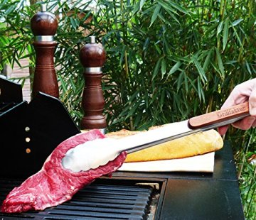 Lange Edelstahl Grillzange (45 cm) mit Holzgriff aus hochwertigem Palisander von Grillfaktur® - 3
