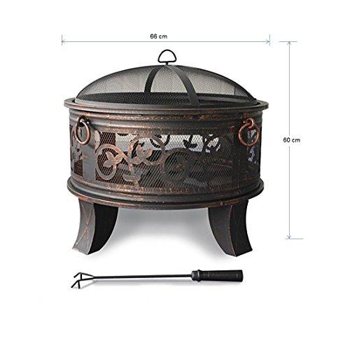 Feuerschale mit Funkenhaube - Stahl Feuerschale 66cm Feuerstelle schwarz Klassik Stil Feuerkorb robust Schürhaken Standbeine Schutzdeckel Funkenhaube - 5