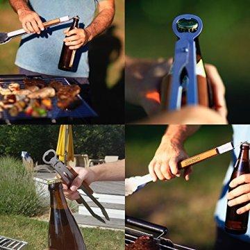 Grillzange lang Edelstahl mit Flaschenöffner, 45cm mit Holzgriff, optimale Griffweite - 4