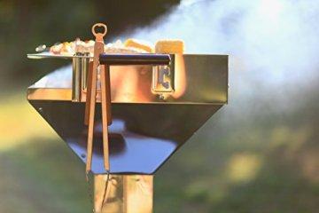 Grillzange lang Edelstahl mit Flaschenöffner, 45cm mit Holzgriff, optimale Griffweite - 6