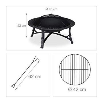 Relaxdays Feuerschale mit Funkenschutz, Garten & Terrasse, mit Schürhaken, Outdoor Feuerstelle, HxD: 52 x 90 cm, schwarz - 2