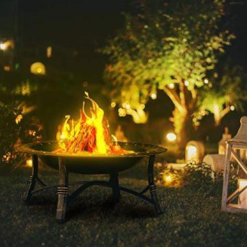 Relaxdays Feuerschale mit Funkenschutz, Garten & Terrasse, mit Schürhaken, Outdoor Feuerstelle, HxD: 52 x 90 cm, schwarz - 6