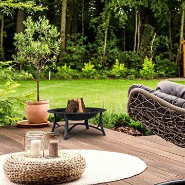 Relaxdays Feuerschale mit Funkenschutz, Garten & Terrasse, mit Schürhaken, Outdoor Feuerstelle, HxD: 52 x 90 cm, schwarz - 7