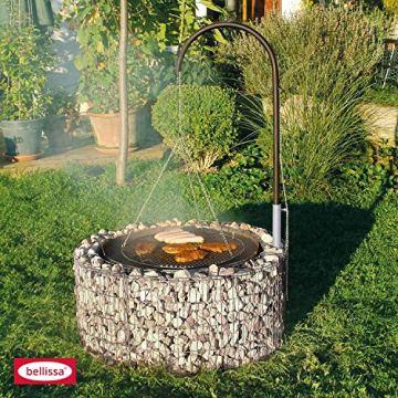 Bellissa Feuer und Grillstelle Ø 92cm inkl. 50 Anzünder + Grillgalgen und Ketten Grillrost Gabione Grill Galgengrill von Dekowelt - 3