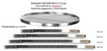 Brandsseller Edelstahl Grillrost Schwenkgrill geeignet - Rostfrei Edelstahl 18/0 Asi 430 Nickel frei - Ø 70 cm - 3