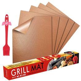 Fly5D BBQ Grillmatte Wiederverwendbare Backmatte (5er Set) mit Antihaftbeschichtung bis 260°C - inklusive Backpinsel - geeignet für Jede Art von Grill & Backofen (Kupfer) - 1
