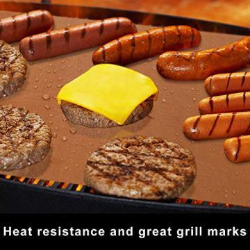 HAUSPROFI Grillmatte, 100% Antihaftend BBQ Grillmatten bis 260°C, 6er Set mit 1 Grillbürste, FDA Zugelassen PFOA Frei, für Holzkohlegrill, Gasgrill oder Elektrogrill (40x33cm, Kupfer) - 4