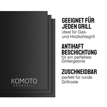 KOMOTO® BBQ Grillmatte (3er Set) 50x40 cm I Extra Dick I Für Gasgrill und Holzkohle - 4