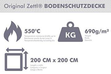 Zettl Bodenschutzdecke bis 550°C, geeignet als feuerfeste Unterlage für Kamin, Grilldecke oder Grillmatte, Original hitzebeständige Bodenschutzmatte Grillschutzmatte, Größe quadratisch ca. 2m x 2m - 3