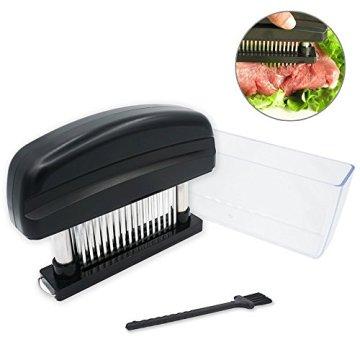 Fleisch-Tenderizer - Professionelles Kommerzielles Küchenwerkzeug mit 48 Klingen aus rostfreiem Stahl mit Rasiermesser(Black) - 2