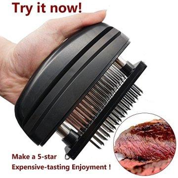 Fleisch-Tenderizer - Professionelles Kommerzielles Küchenwerkzeug mit 48 Klingen aus rostfreiem Stahl mit Rasiermesser(Black) - 3