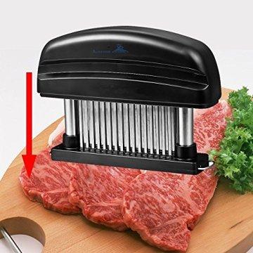Fleisch-Tenderizer - Professionelles Kommerzielles Küchenwerkzeug mit 48 Klingen aus rostfreiem Stahl mit Rasiermesser(Black) - 7