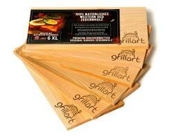 6 Pack XL Grillbretter - Zedernholzbrett zum Grillen - Räucherbretter aus Zedernholz von grillart® hergestellt aus 100% natürlichem Western Red Zedernholz für einen besonderen Grillgeschmack - 1