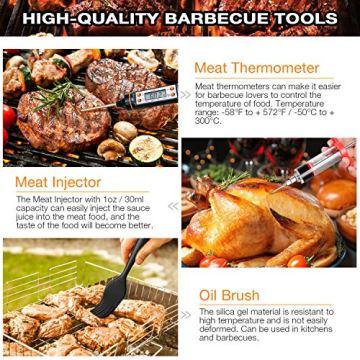 AISITIN 35er BBQ Grillbesteck Tool Set Grillset mit Grillmatte Hochwertiger Edelstahl für Garten und Camping Grillzubehör BBQ für Männer und Frauen Ink. Koffer - 3