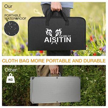 AISITIN 35er BBQ Grillbesteck Tool Set Grillset mit Grillmatte Hochwertiger Edelstahl für Garten und Camping Grillzubehör BBQ für Männer und Frauen Ink. Koffer - 9
