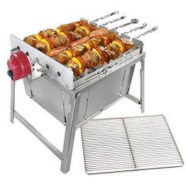 BEM Rambo Togo: Grill Set - Schaschlik Grill, Edelstahl Mangal, Grillaufsatz mit Motor, Campinggrill, inkl. Powerbank - 1