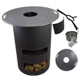 A. Weyck Tools Multifunktionstonne | Feuertonne | Feuerplatte | Dutch Oven Station | Pizza Ofen | Kamin | Plancha | Komplettsets (Multitonne-100cm Feuerplatte Set #170) - 1