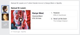 Darstellung von Musik inkl. Player. Likes werden an der Seite angezeigt