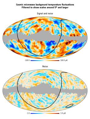 La temperatura CMB su grandi scale angolari.Credito: ESA / Planck Collaboration