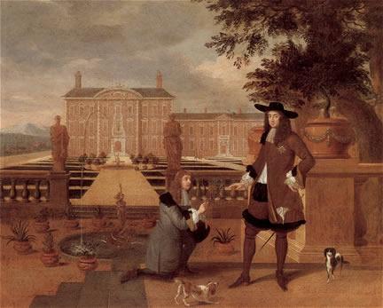 Danckerts painting of pineapple and Charles II