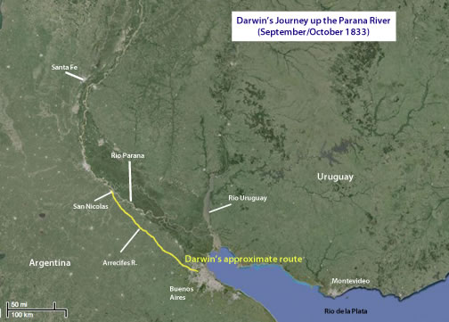 Darwin's route up the Parana River
