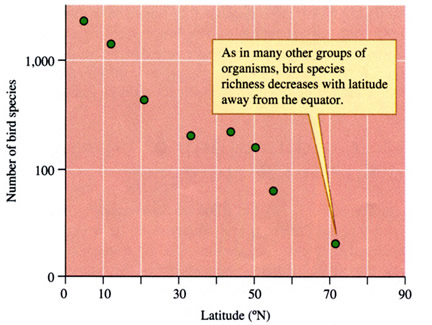 Latitudinal distribution of bird species