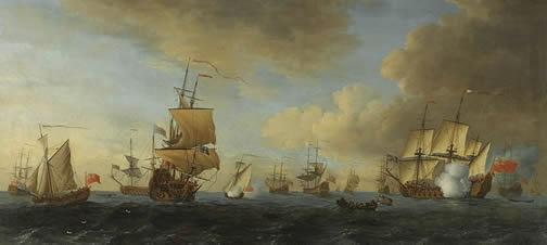 English frigate under sail firing a gun