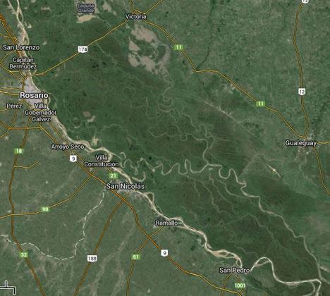 meanders on Rio Parana