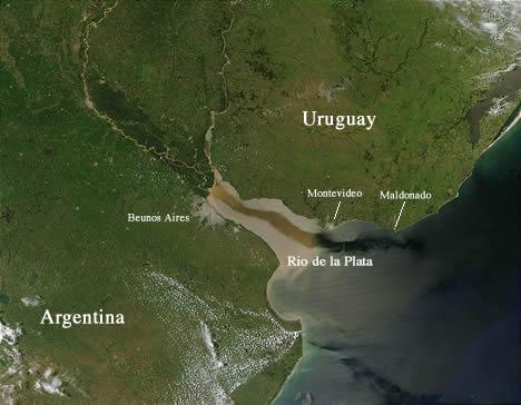 Satellite image of the Rio de la Plata
